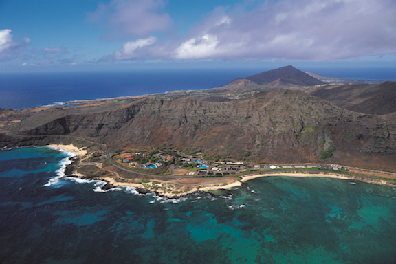 An aerial view of the Oceanic Institute  in Waimanalo on the Windward coast, backed by the Ko'olau mountains.